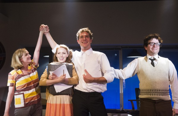 From left, Jenna Russell, Clare Foster, Mark Umbers and Damian Humbley in 'Merrily We Roll Along' — Photo courtesy of Tristram Kenton