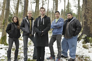 The 'Killer Contact' team includes, from left to right, Molly O'Connelly, Adam Leidenfrost, Austin Cook, Greg Niecestro and Hector Barragan — Photo courtesy of CLodagh Kilcoyne / Syfy