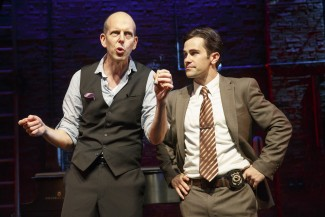 From left, Jeff Blumenkrantz and Brett Ryback star in 'Murder for Two' off-Broadway at New World Stages — Photo courtesy of Joan Marcus