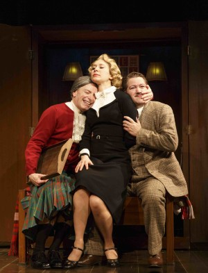From left, Arnie Burton, Brittany Vicars and Robert Petkoff are currently staring in 39 Steps at the Union Square Theatre — Photo courtesy of Joan Marcus