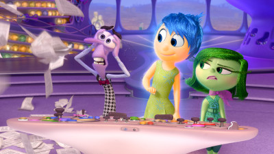 Inside Out features, from left, the characters of Fear (Bill Hader), Joy (Amy Poehler) and Disgust (Mindy Kaling) — Photo courtesy of Disney-Pixar. All Rights Reserved.