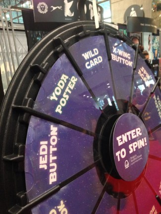 Spin for a chance to win a book at New York Comic Con. Photo by John Soltes.