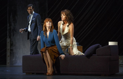 From left, Clive Owen, Kelly Reilly and Eve Best star in Harold Pinter's Old Times, directed by Douglas Hodge at Roundabout Theatre Company's American Airlines Theatre. Photo courtesy of Joan Marcus.