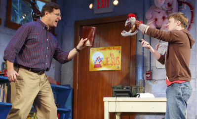 From left, Bob Saget and Steven Boyer star in Broadway's Hand to God. Photo courtesy of Joan Marcus.