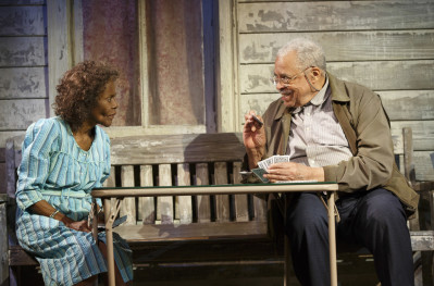 Cicely Tyson and James Earl Jones star in D.L. Coburn's The Gin Game, directed by Leonard Foglia.  The production is playing through Jan. 10 at the Golden Theatre (252 West 45th St.). Photo courtesy of © Joan Marcus.