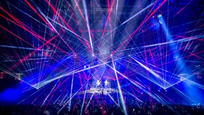 Laser lights produce a variety of angles at a recent Trans-Siberian Orchestra concert. Photo courtesy of Jason McEachern.