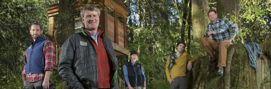 Left to Right, Treehouse Masters' Alex, Pete Nelson, Chuck, Charlie Nelson and Daryl pause in the forest near the Bonbibi treehouse at Treehouse Point. Photo courtesy of Animal Planet.