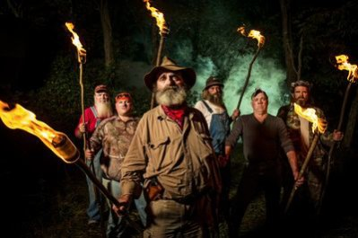 "The cast of Mountain Monsters on Destination America includes John ""Trapper"" Tice, center. Photo courtesy of Jason Elias / Destination America."
