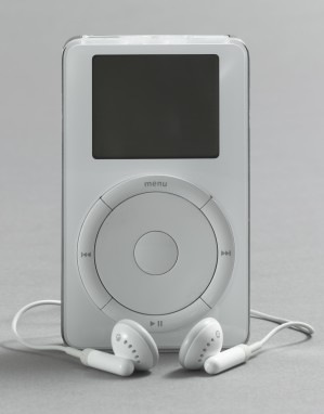 Jonathan Ive, Apple Industrial Design Group. iPod. 2001. Polycarbonate plastic and stainless steel, 4 x 2 1/2 x 7/8″ (10.2 x 6.4 x 2.2 cm). Mfr.: Apple, Inc. The Museum of Modern Art, New York. Gift of the manufacturer
