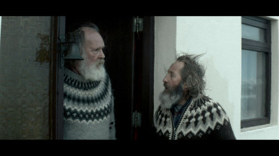 "Theodór Júlíusson as ""Kiddi"" (left) and Sigurður Sigurjónsson as ""Gummi"" (right) in Rams directed by Grímur Hákonarson. Photo courtesy of Cohen Media Group"