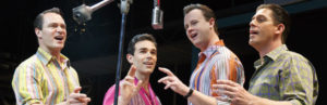 Jersey Boys stars Matt Bogart, Dominic Scaglione Jr., Quinn VanAntwerp and Richard H. Blake as Frankie Valli and the Four Seasons. Photo courtesy of Joan Marcus.