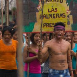 Peru's indigenous Amazonian people protest to save their rainforest land in Heidi Brandenburg and Mathew Orzel's When Two Worlds Collide, a First Run Features release. Photo © Jack Weisman, Yachaywasi Films.