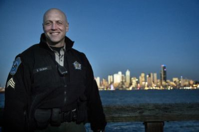 On Rugged Justice, Sgt. Erik Olson patrols the streets and piers of Seattle. Photo courtesy of Animal Planet.