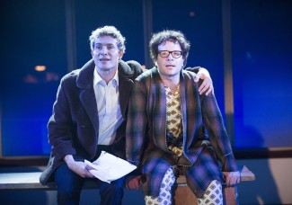 From left, Mark Umbers and Damian Humbley in 'Merrily We Roll Along' at the Menier Chocolate Factory — Photo courtesy of Tristram Kenton