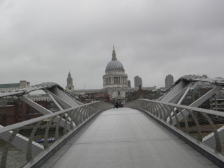 Millennium Bridge and St. Paul's Cathedral in London — Photo by John Soltes