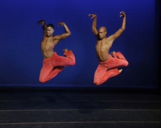 Antonio Douthit and Jamar Roberts in 'Strange Humors,' choreographed by Robert Battle — Photo courtesy of Paul Kolnik