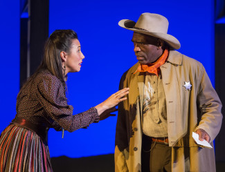 Off the Rails features, from left, Shyla Marlin (Choctaw) as Madame Overdone and Bernard Addison as Sheriff. — Photo courtesy of Craig Schwartz © 2015