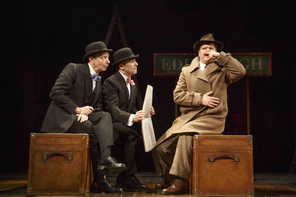 From left, Arnie Burton, Billy Carter and Robert Petkoff star in 39 Steps — Photo courtesy of Joan Marcus