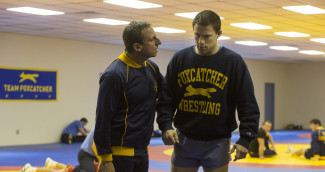 Steve Carell as John du Pont and Channing Tatum as Mark Schultz in Foxcatcher — Photo courtesy of Scott Garfield, courtesy of Sony Pictures Classics
