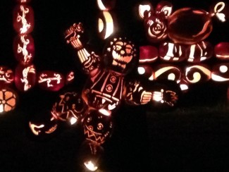 The Great Jack O'Lantern Blaze in Croton-on-Hudson, N.Y., features a carnival train scene. Photo by John Soltes.
