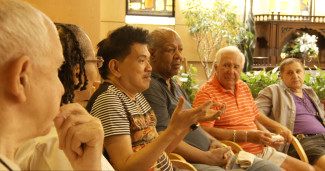 A group of gay seniors meet in Frederick Wiseman's In Jackson Heights. Courtesy of Zipporah Films.