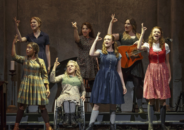The cast of Spring Awakening includes, clockwise from bottom left, Treshelle Edmond, Ali Stroker, Amelia Hensley, Lauren Luiz, Kathryn Gallagher, Krysta Rodriguez and Alexandra Winter. Photo courtesy of Joan Marcus.