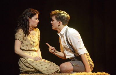 Sandra Mae Frank plays Wendla, and Austin P. McKenzie plays Melchior in Broadway's Spring Awakening. Photo courtesy of Joan Marcus.