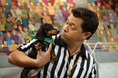 Referee Dan Schachner tries to keep some order at Puppy Bowl. Photo courtesy of Animal Planet.