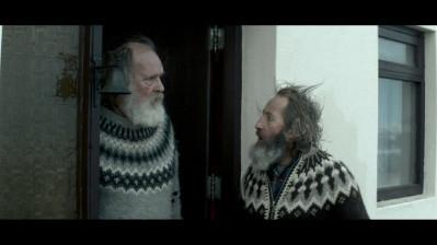 """Theodór Júlíusson as """"Kiddi"""" (left) and Sigurður Sigurjónsson as """"Gummi"""" (right) in Rams directed by Grímur Hákonarson. Photo courtesy of Cohen Media Group"""