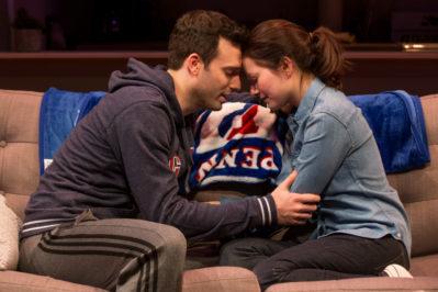 Straight, a new off-Broadway play, stars Jake Epstein and Jenna Gavigan. Photo courtesy of Matthew Murphy.